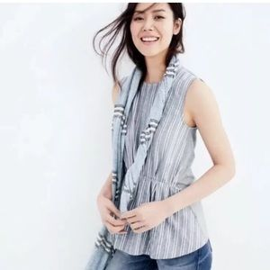 J. Crew Chambray Striped Peplum Top Synched Waist